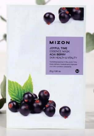 MIZON Тканевая маска для лица с экстрактом ягод асаи Joyful Time Essence Mask Acai Berry