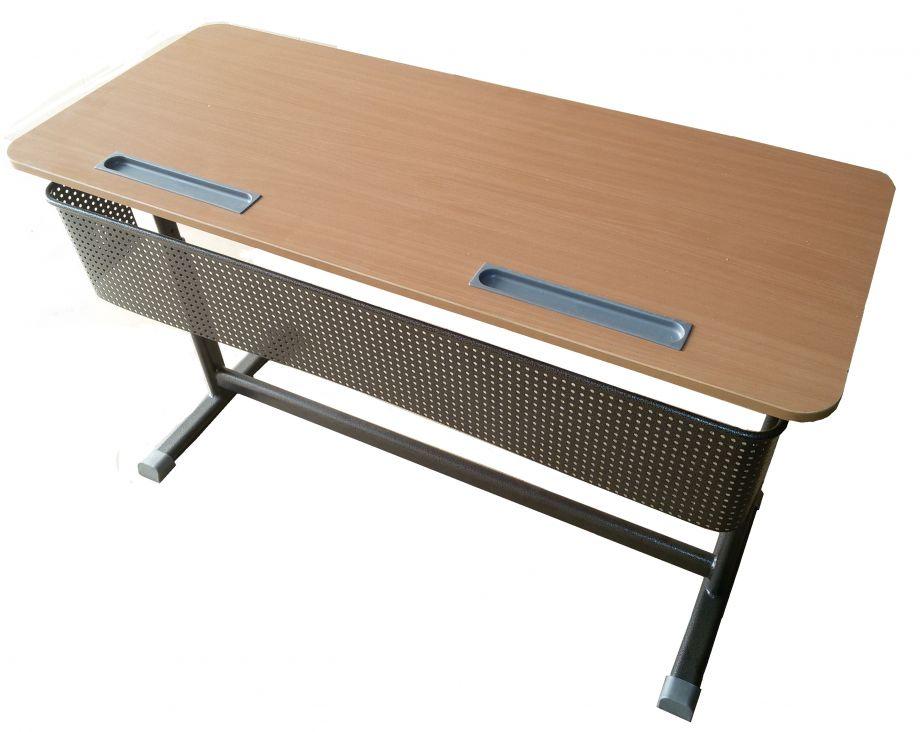 """Стол ученический """"Киташка - 2"""" двухместный регулируемый, объемный фронтон, с регулировкой наклона столешницы"""