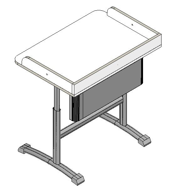Стол ученический для кабинета физики, двухместный, не регулируемый