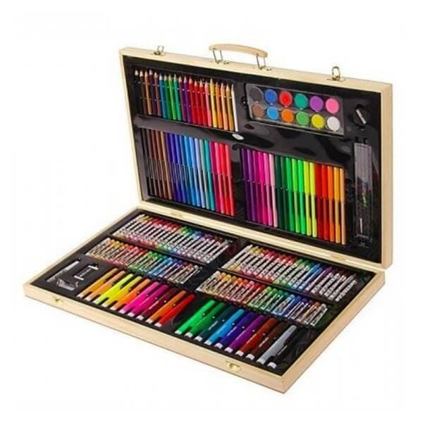 Художественный набор в деревянном чемоданчике. 180 предметов