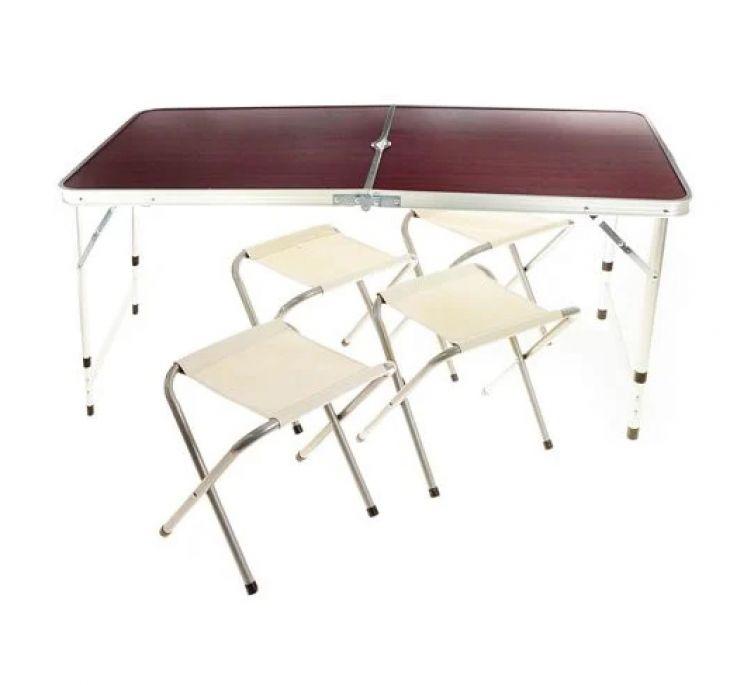 Стол складной + 4 стула для пикника вишня
