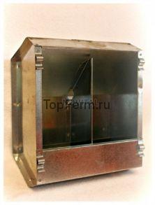Бункерная двухсекционная оцинкованная кормушка (из металла) для кроликов с крышкой