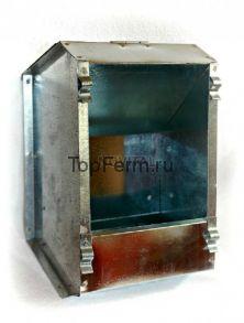 Бункерная односекционная оцинкованная кормушка (из металла) для кроликов с крышкой