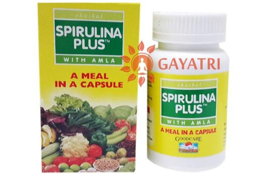 Спирулина Плюс, источник витаминов и минералов  60 кап, производитель ГудКейр; Spirulina plus, 60 caps, Goodcare (Baidyanath)