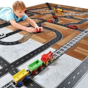 Игровой скотч с дорожной разметкой Умная автомобильная дорога, 72 мм х 20 м
