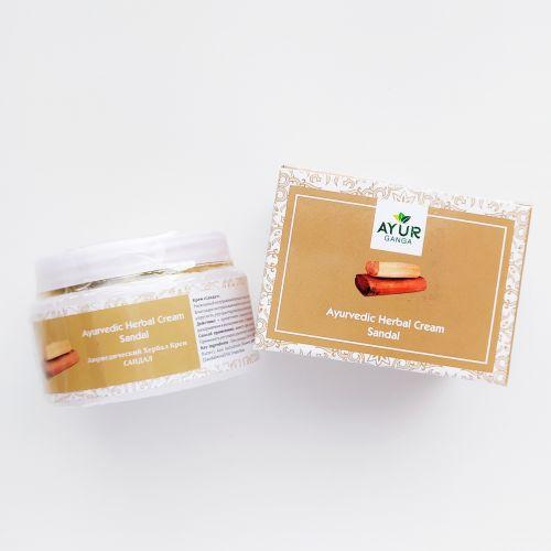 Аюрведический травяной крем Сандал | Ayurvedic Herbal Cream Sandal | 30 г | AyurGanga