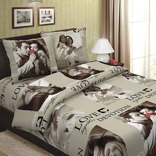 Сладкая парочка (бежевая) постельное белье бязь