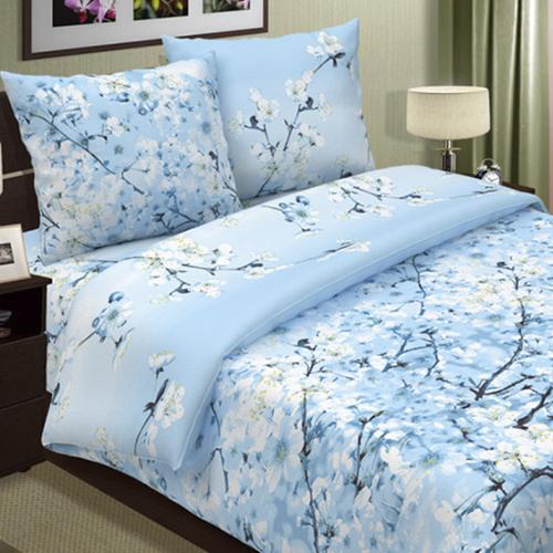 Сакура (голубой) постельное белье поплин
