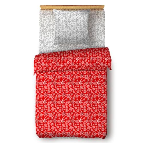 Снежинки (красный) постельное белье поплин