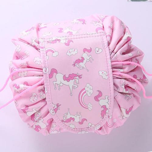Ленивая нейлоновая косметичка-мешок на липучке, Цвет Розовый с пони