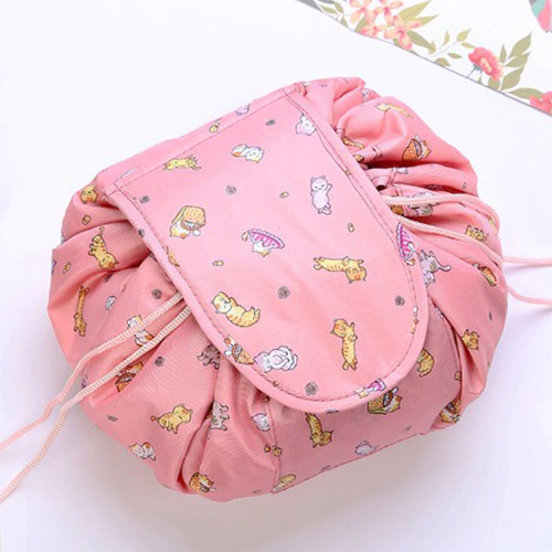 Ленивая нейлоновая косметичка-мешок на липучке, Цвет Персиковый с котятами
