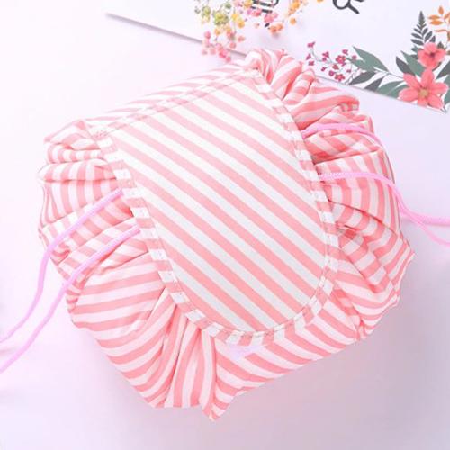 Ленивая нейлоновая косметичка-мешок на липучке, Цвет Полосатый розово-белый