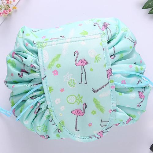 Ленивая нейлоновая косметичка-мешок на липучке, Цвет Бирюзовый с фламинго