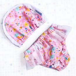 Единорожки с юбочкой Многоразовые трусики - подгузники для плавания от рождения до 3х лет