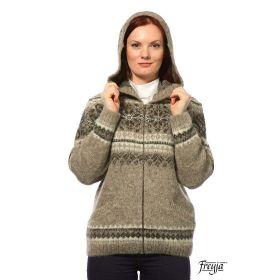 Кардиган женский с капюшоном вязаный из Исландской шерсти F02501-26