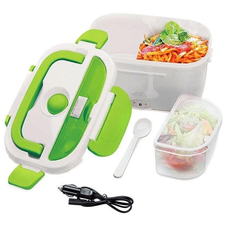 iizw Подогреваемый контейнер (Ланч-Бокс с двумя секциями) для полноценных горячих обедов для водителя автомобиля (зеленый) Новый, Гарантия, Доставка