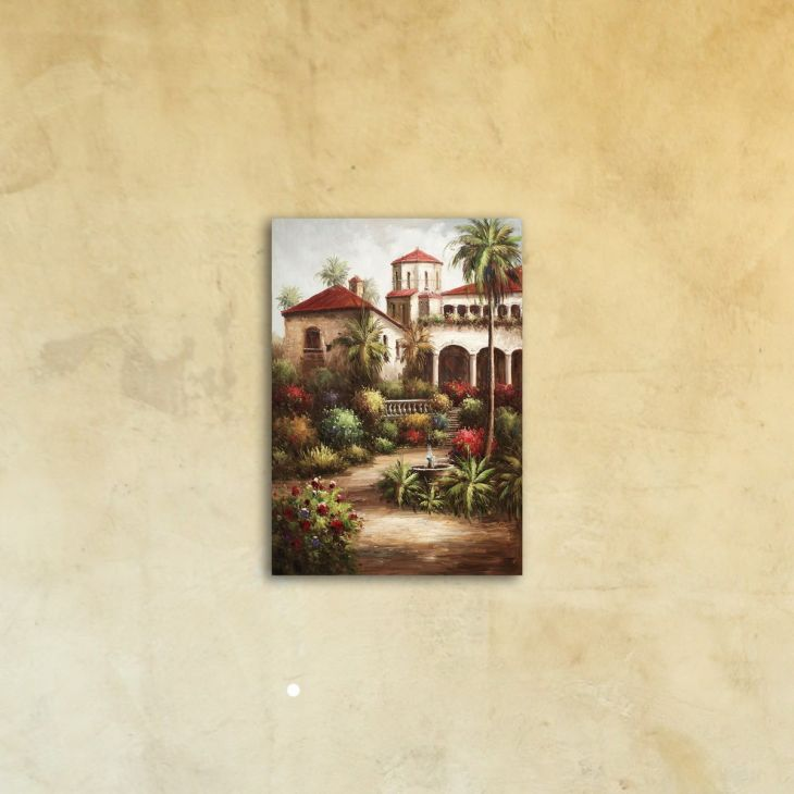 """Картина на стекле """"Загородный дом в Италии"""""""