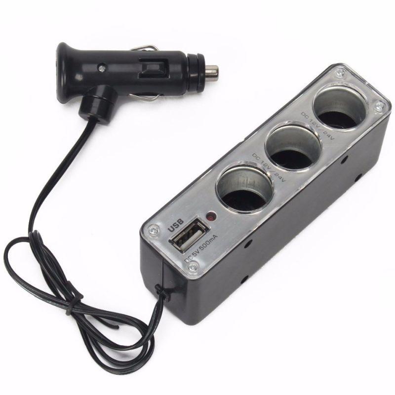 iizw Разветвитель автомобильного прикуривателя на 12 Вольт до 31 Вольта с USB разъемом и подсветкой (на 3 гнезда, белый) Новый, Гарантия, Доставка