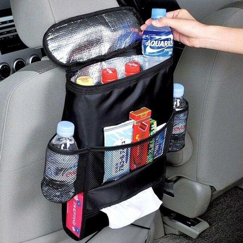 iizw Автомобильный органайзер-сумка (термосумка) с системой крепления за подголовник автокресла (черный) Новый, Гарантия, Доставка