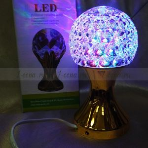 Разноцветная вращающаяся лампа LED ШАР на подставке