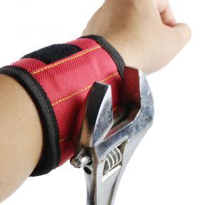 iizw Строительный матерчатый браслет с пятью магнитами Magnetic Wristband (МАГНЕТИК РИСТБАНД) (красный) Новый, Гарантия, Доставка