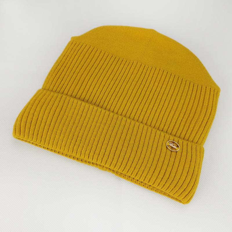 зд1217-11 Шапка-конвертик вязаная с отворотом лапша BLTX горчица