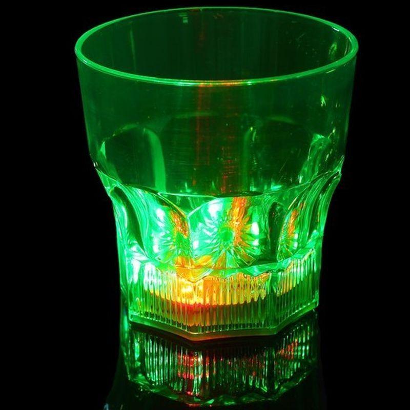 iizw Восьмиугольный бокал (граненый стакан) с подсветкой для виски и других напитков BubbleRocks (1 штука) Новый, Гарантия, Доставка