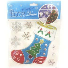 iizw Набор из новогодней наклейки Волшебный Носок и семи серебристых снежинок RoomDecor (21,5 на 15,0 см) Новый, Гарантия, Доставка