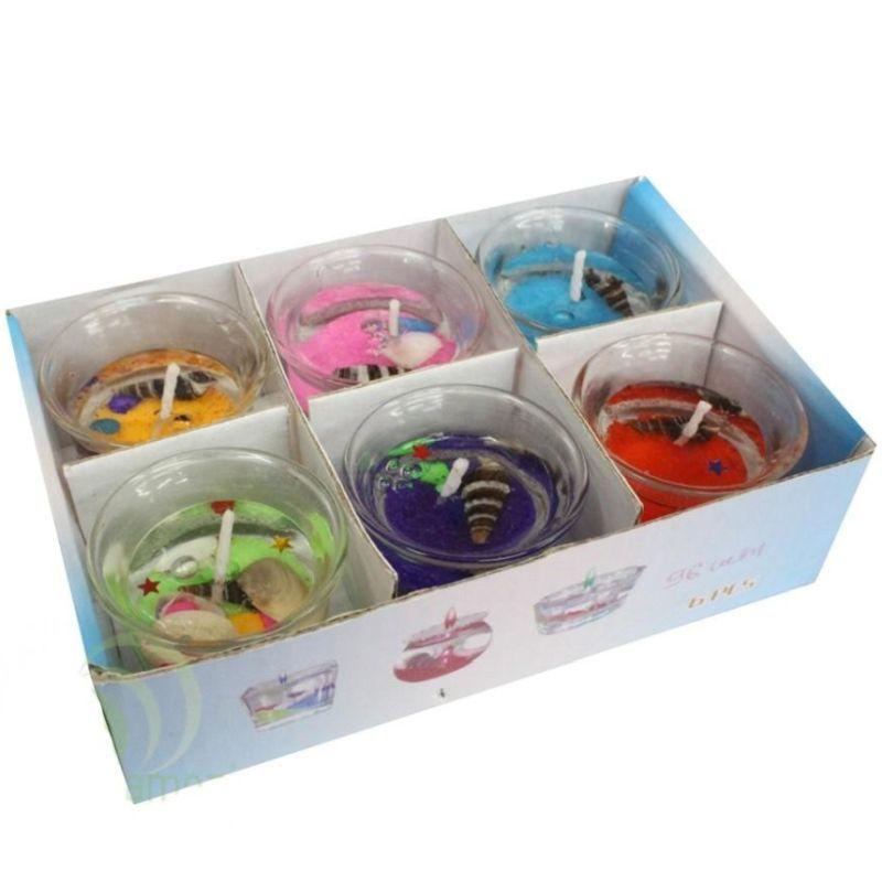 iizw Подарочный набор из шести небольших гелевых свечек в прозрачных стаканчиках. Новый, Гарантия, Доставка