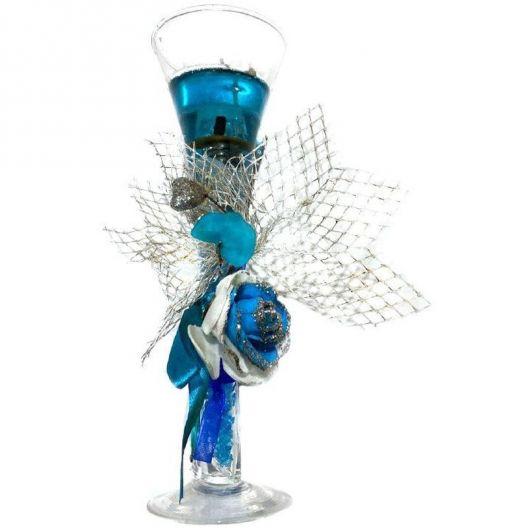 iizw Гелевая свечка с тремя светодиодами в фужере и изящной подарочной упаковке (синего цвета, высота 19 см) Новая, Гарантия, Доставка