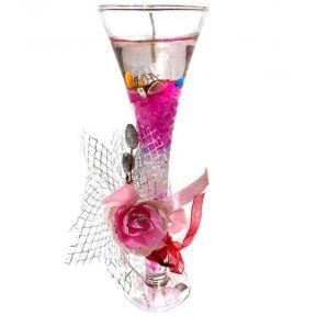 iizw Гелевая свечка с тремя светодиодами в фужере и изящной подарочной упаковке (цвета фуксия, высота 19 см) Новая, Гарантия, Доставка