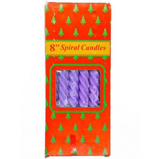 iizw Набор из двенадцати витых свечек в подарочной упаковке SpiralCandles (все фиолетового цвета, высота 20 см) Новый, Гарантия, Доставка