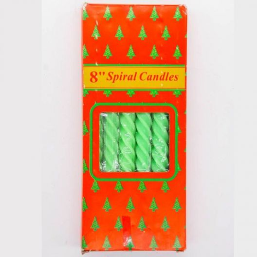 iizw Набор из двенадцати витых свечек в подарочной упаковке SpiralCandles (все зеленого цвета, высота 20 см) Новый, Гарантия, Доставка