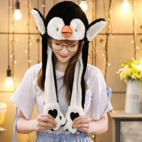 iizw Очаровательная пушистая шапка со светодиодной подсветкой и поднимающимися ушками (Пингвин, черная) Новая, Гарантия, Доставка