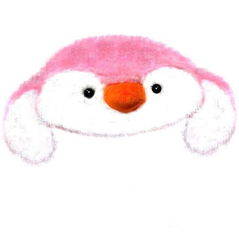 iizw Очаровательная пушистая шапка со светодиодной подсветкой и поднимающимися ушками (Пингвин, розовая) Новая, Гарантия, Доставка