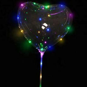 iizw Латексный шар ВОВО (сердечко) со светящейся светодиодной гирляндой на палке-держателе и блоком управления (BOBO, 45 см) Новый, Гарантия, Доставка