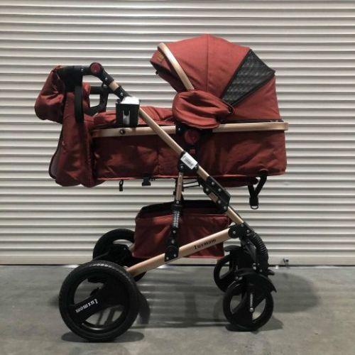 Коляска-трансформер 2в1 Luxmom 530 Красный текстиль+сумка для мамы