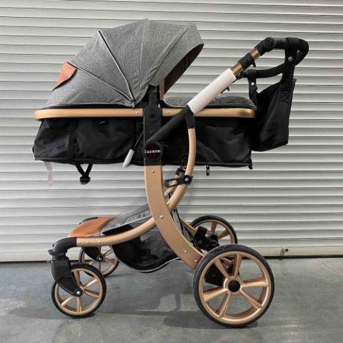Коляска-трансформер Lux mom 608 2в1 Серый текстиль золотая рама+сумка для мамы