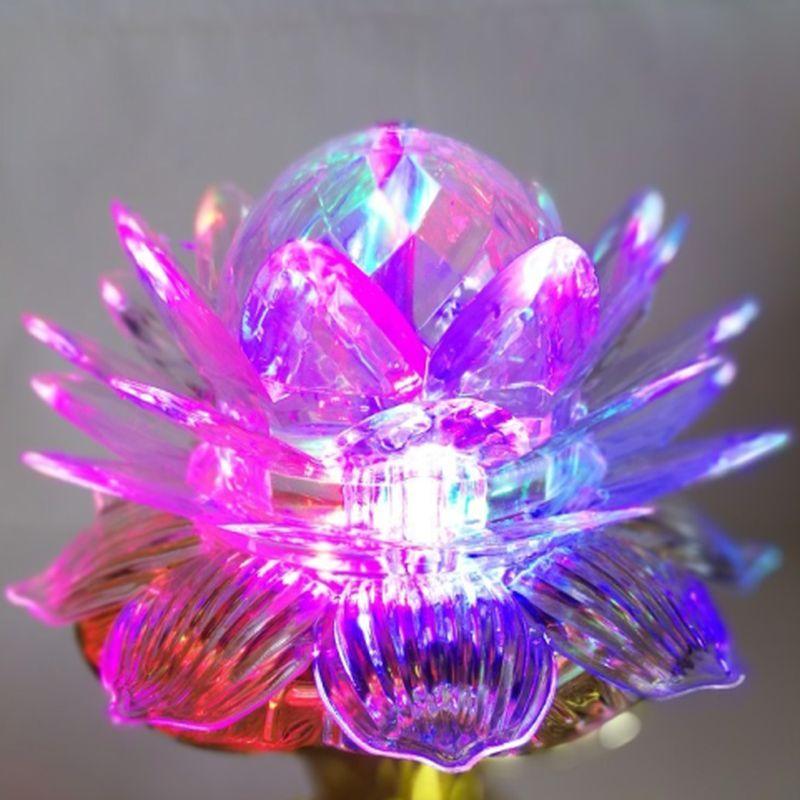 iizw Вращающийся светодиодный светильник Цветок Лотоса на золотой подставке (электросеть 220 В, высота 17 см) Новый, Гарантия, Доставка