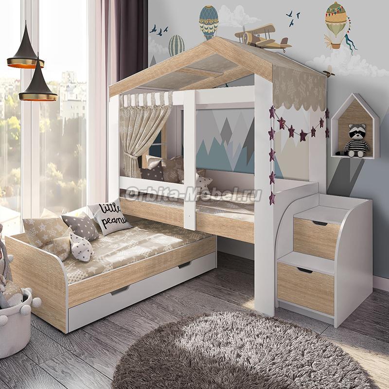 """Кровать-домик """"Сказка Сканди"""" c дополнительным спальным местом"""