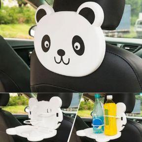 iizw Складной столик (мультяшная панда) для детей в автомобиль с креплением под подголовник переднего сидения CAR TRAY TABLE. Новый, Гарантия, Доставка