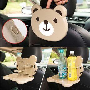 iizw Складной столик (мультяшный медвежонок) для детей в автомобиль с креплением под подголовник переднего сидения CAR TRAY TABLE. Новый, Гарантия, Доставка