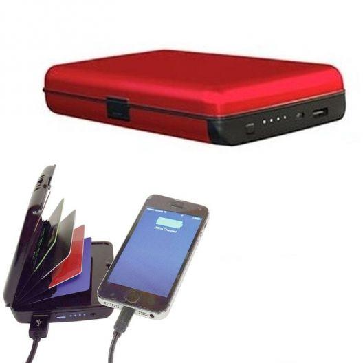 iizw Зарядное устройство и одновременно кошелек (2 в 1) Sonic IQ E-Charge Wallet (СОНИК ИК Е-ЧАРЖЕ ВАЛЛЕТ) 10000 мАч, (красное) Новое, Гарантия, Доставка
