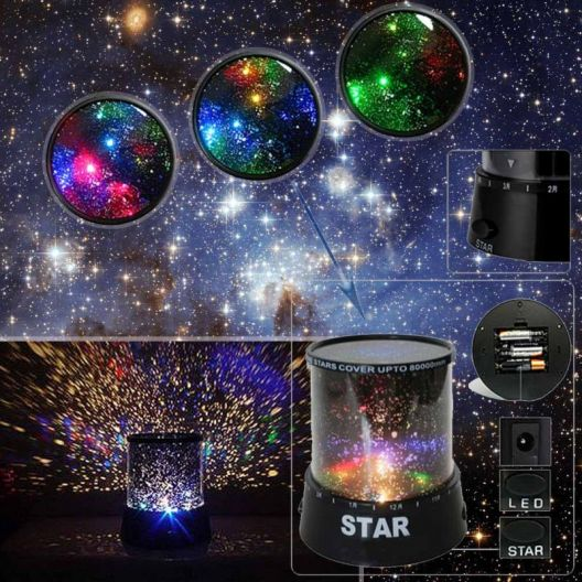iizw Цилиндрический светодиодный светильник-ночник-проектор ночного неба со звездами StarMaster (черный) Новый, Гарантия, Доставка
