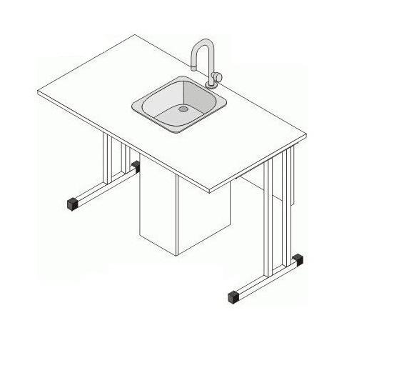 Стол ученический для кабинета химии, двухместный, не регулируемый