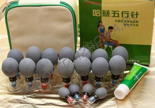 Магнитные банки-присоски Kangzhu Haci Mask акупункционного действия - 18 штук (серебро).
