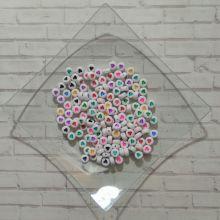 БУСИНЫ круглые СЕРДЕЧКИ размер 7*3 мм материал пластик БЕЛЫЙ ФОН/ ЦВЕТНЫЕ СЕРДЕЧКИ упаковка 20 шт