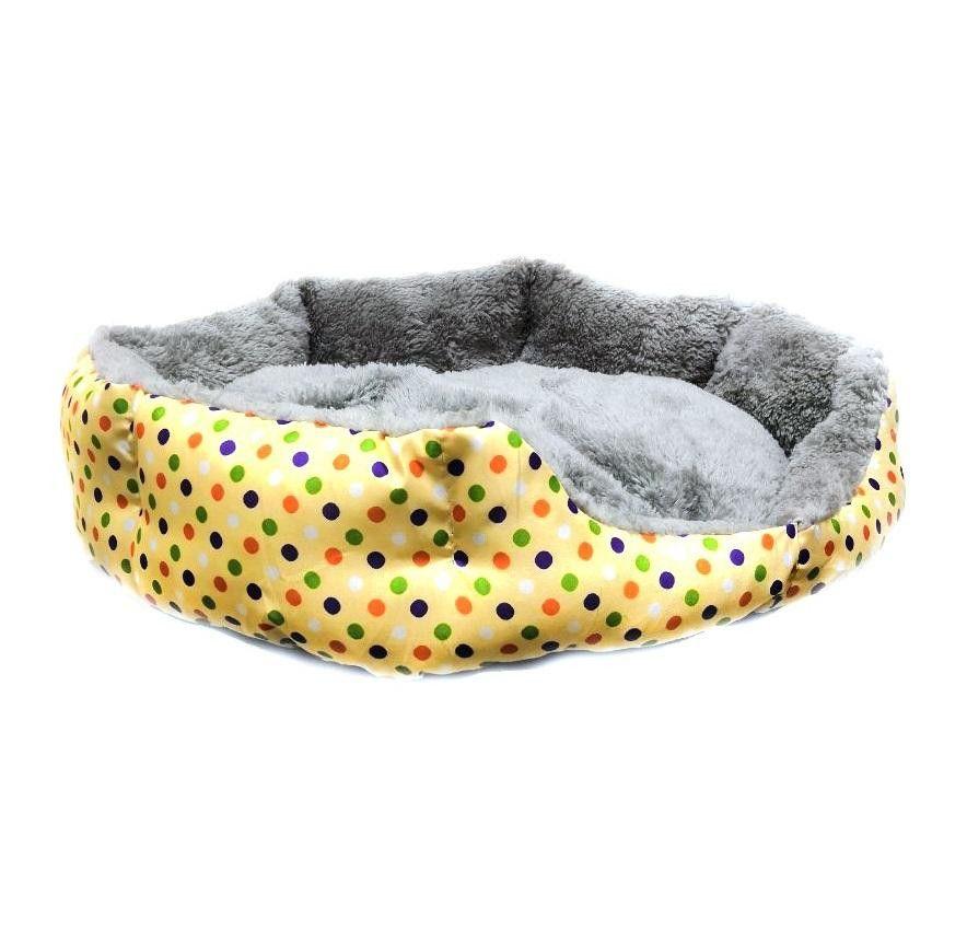 Круглый меховой лежак для кошек и собак Горошек