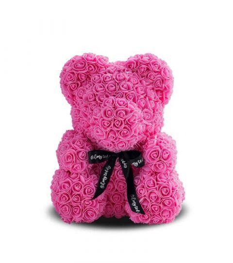Мишка из роз (розовый), 40 см