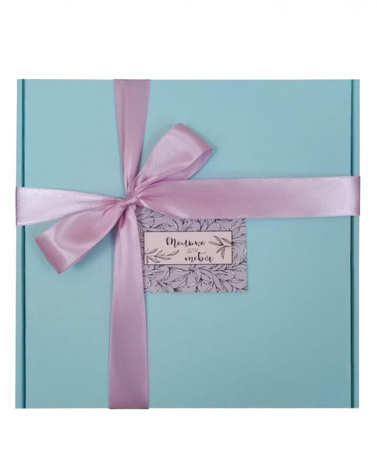 Коробка подарочная, коробка для подарка цвет голубой 220*220*60 мм с наполнителем тишью и атласной лентой